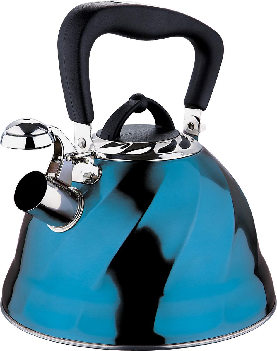 Чайник Marta, со свистком, цвет: голубой, 3 л. MT-304354 009312Чайник Marta выполнен из высококачественной нержавеющей стали и оснащен ненагревающейся ручкой с силиконовым покрытием. Теплоемкое капсульное дно обеспечивает быстрый нагрев чайника и равномерно распределяет тепло по его корпусу. Кипячение воды занимает меньше времени, а вода дольше остается горячей. Свисток на носике чайника – привычный элемент комфорта и безопасности. Своевременный сигнал о готовности кипятка сэкономит время и электроэнергию, вода никогда не выкипит полностью, а чайник прослужит очень долго. Оригинальный механизм поднятия свистка добавляет чайнику индивидуальности - при поднятии чайника за ручку свисток автоматически открывает носик для удобства наливания кипятка в чашку. Чайник подходит для всех видов плит, кроме индукционных.