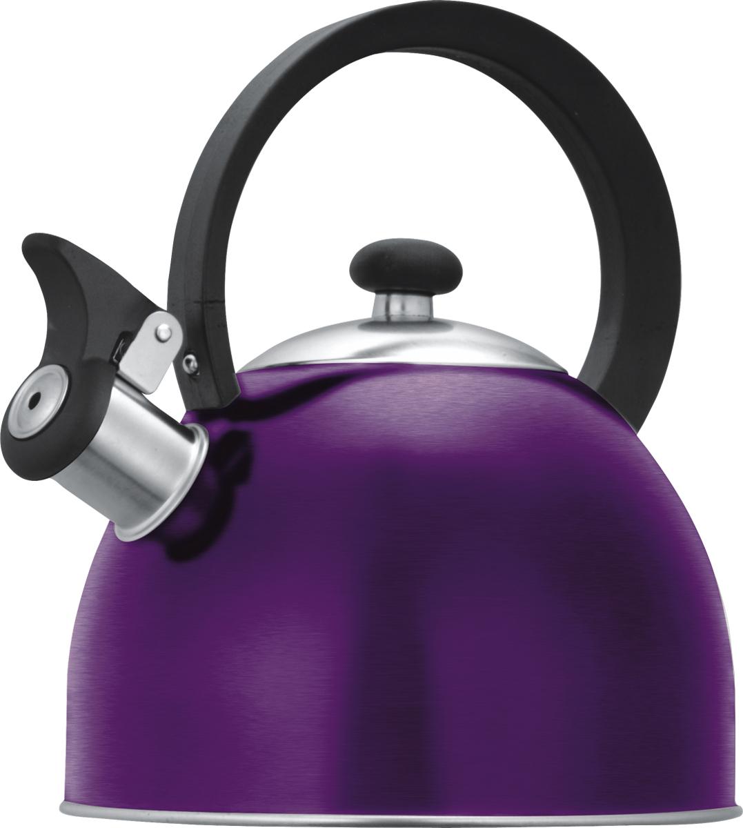 Чайник со свистком Lumme, цвет: фиолетовый, 1,8 л. LU-256VT-1520(SR)цветной со свистком 1,8л нержавеющая сталь, фиксированная ручка