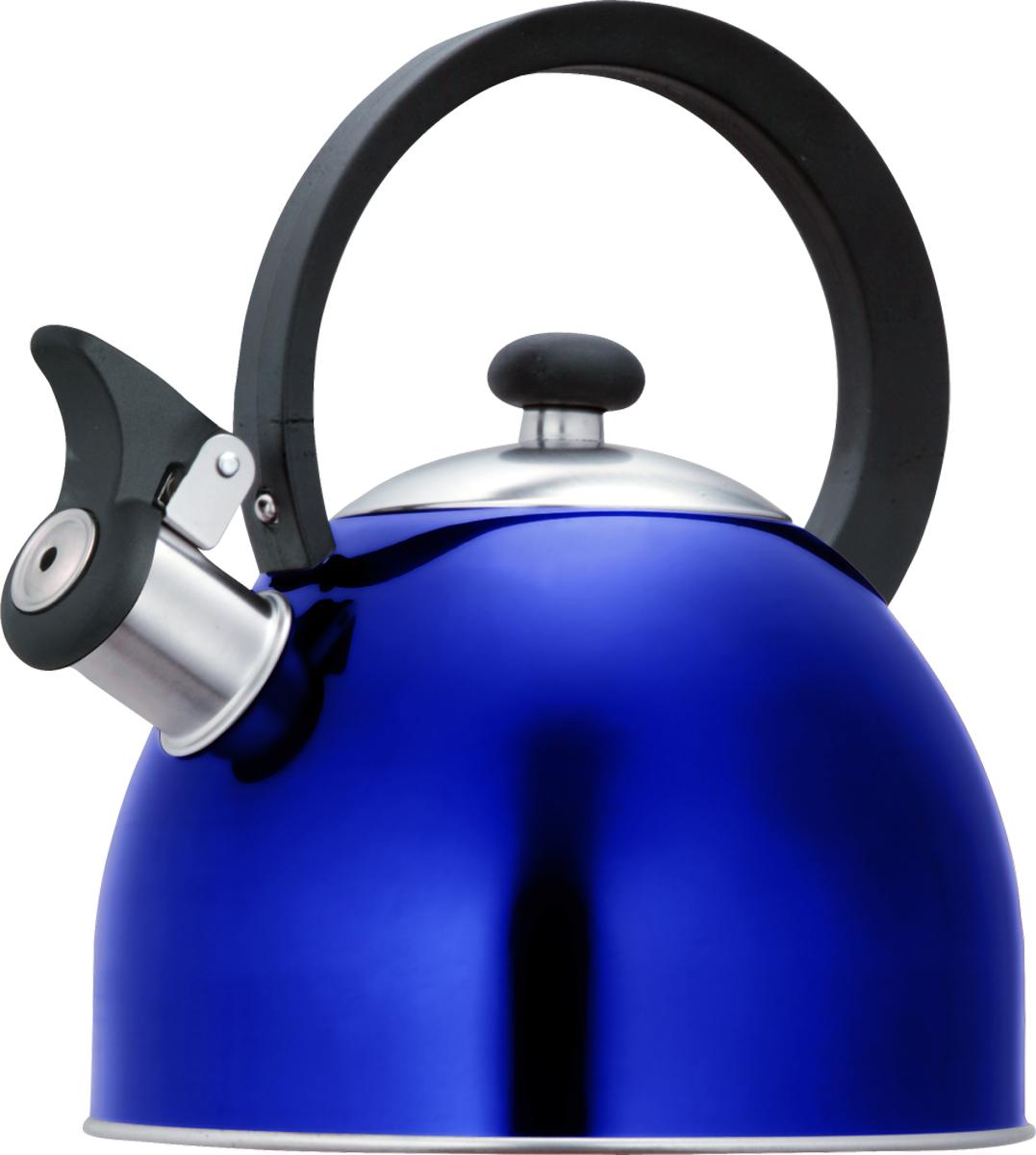 Чайник Lumme со свистком, цвет: синий, 1,8 л54 009312Чайник в корпусе из высококачественной пищевой нержавеющей стали с термостойкой ненагревающейся ручкой и свистком, поднимающимся с помощью рычажка.Высококачественная нержавеющая сталь не имеет запаха, не выделяет примесей и сохраняет все природные натуральные свойства воды.Свисток на носике чайника - привычный элемент комфорта и безопасности, потому что своевременный сигнал о готовности кипятка сэкономит время и электроэнергию, вода никогда не выкипит полностью, и чайник прослужит очень долго.Оригинальный механизм поднятия свистка с помощью рычажка добавляет чайнику индивидуальности, он необычайно комфортен в использовании и может стать хорошим подарком для близких.Чайник из нержавеющей стали подходит для всех видов плит, кроме индукционных: электрических, стеклокерамических, галогенных, газовых.
