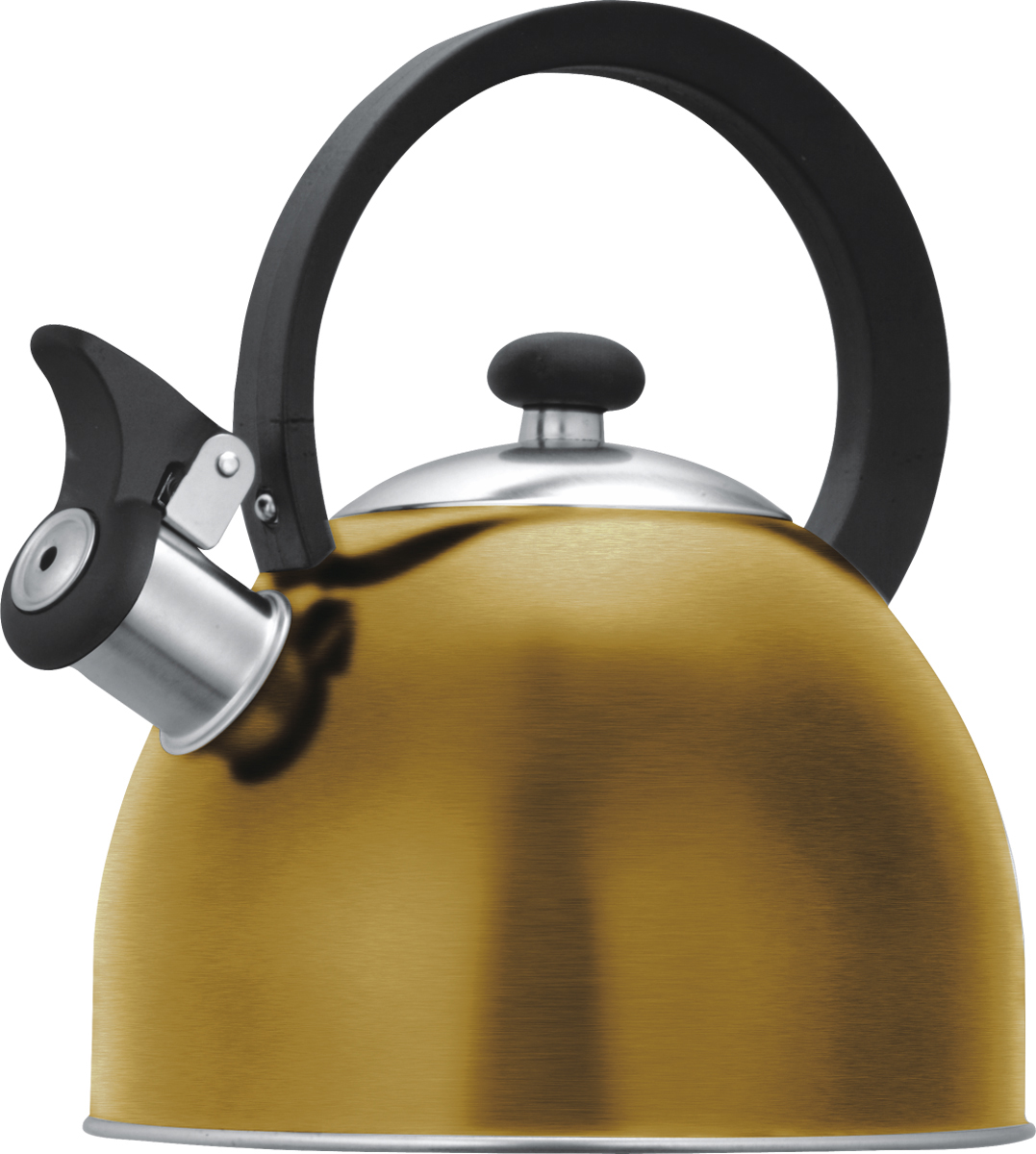 Чайник Lumme со свистком, цвет: золотистый, 1,8 лVT-1520(SR)Чайник в корпусе из высококачественной пищевой нержавеющей стали с термостойкой ненагревающейся ручкой и свистком, поднимающимся с помощью рычажка.Высококачественная нержавеющая сталь не имеет запаха, не выделяет примесей и сохраняет все природные натуральные свойства воды.Свисток на носике чайника – привычный элемент комфорта и безопасности, потому что своевременный сигнал о готовности кипятка сэкономит время и электроэнергию, вода никогда не выкипит полностью, и чайник прослужит очень долго.Оригинальный механизм поднятия свистка с помощью рычажка добавляет чайнику индивидуальности, он необычайно комфортен в использовании и может стать хорошим подарком для близких.Чайник из нержавеющей стали подходит для всех видов плит, кроме индукционных: электрических, стеклокерамических, галогенных, газовых.