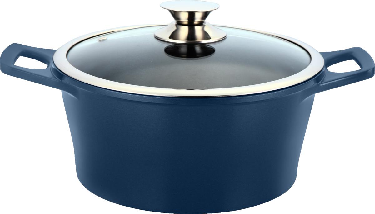 Кастрюля Marta Pro Line с крышкой, с керамическим покрытием, цвет: темно-синий, 6,2 л1SC165SКастрюля Marta Pro Line выполнена из литого алюминия с высокой теплопроводностью и термостойкостью. Изделие оснащено внутренним двухслойным экологически чистым керамическим покрытием. Кастрюля обладает антибактериальными свойствами и не вступает в химические реакции с продуктами, что позволяет им сохранить свой оригинальный вкус и полезные свойства. Посуда нетоксична и устойчива к коррозии. Энергосберегающее дно сокращает время приготовления и экономит электроэнергию.Кастрюля оснащена стеклянной крышкой с паровыпуском и удобными ручками. Подходит для электрических, газовых, стеклокерамических и галогенных плит. Можно мыть в посудомоечной машине.