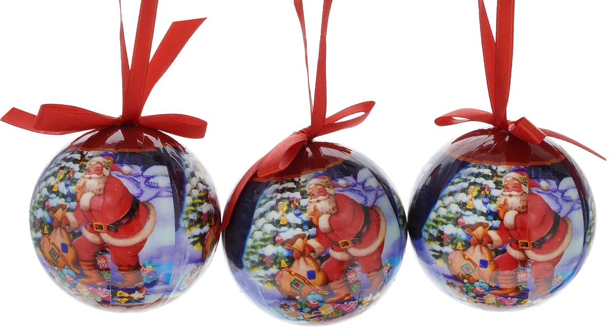 Набор новогодних подвесных украшений Erich Krause Санта с подарками, диаметр 7,5 см, 3 шт