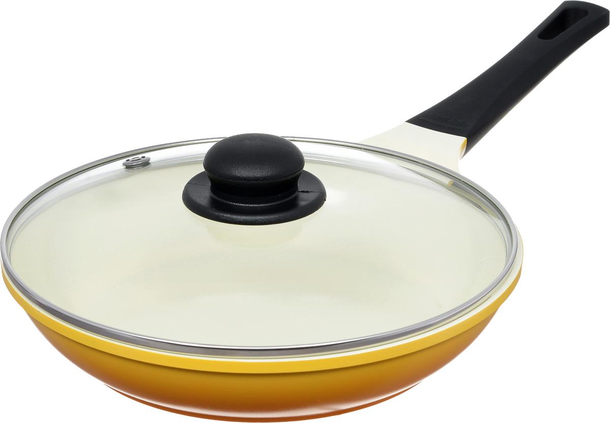 Сковорода Frybest Rainbow с крышкой, с керамическим покрытием, цвет: желтый. Диаметр 26 см. CA-F26GK1102146Сковорода Frybest Rainbow изготовлена по новейшей технологии из литого алюминия с керамическим антипригарным покрытием Ecolon, в производстве которого используются природные материалы безопасные для здоровья. Благодаря специальному утолщенному дну сковорода равномерно распределяет тепло. Непревзойденная прочность сковороды и устойчивость к царапинам позволяет использовать металлические аксессуары при приготовлении пищи, а эргономичная удлиненная ручка с силиконовым покрытием soft-touch имеет оригинальное технологическое крепление к телу сковороды и всегда остается холодной. Прозрачная крышка, выполненная из термостойкого стекла с клапаном для выпуска пара, позволяет следить за процессом приготовления пищи. Изделие можно использовать на газовых, электрических и стеклокерамических плитах. Не подходит для индукционных плит. Можно мыть в посудомоечной машине.Диаметр (по верхнему краю): 26 см. Высота стенки: 5,5 см. Длина ручки: 21 см. Толщина стенок: 3 мм.Толщина дна: 4 мм.