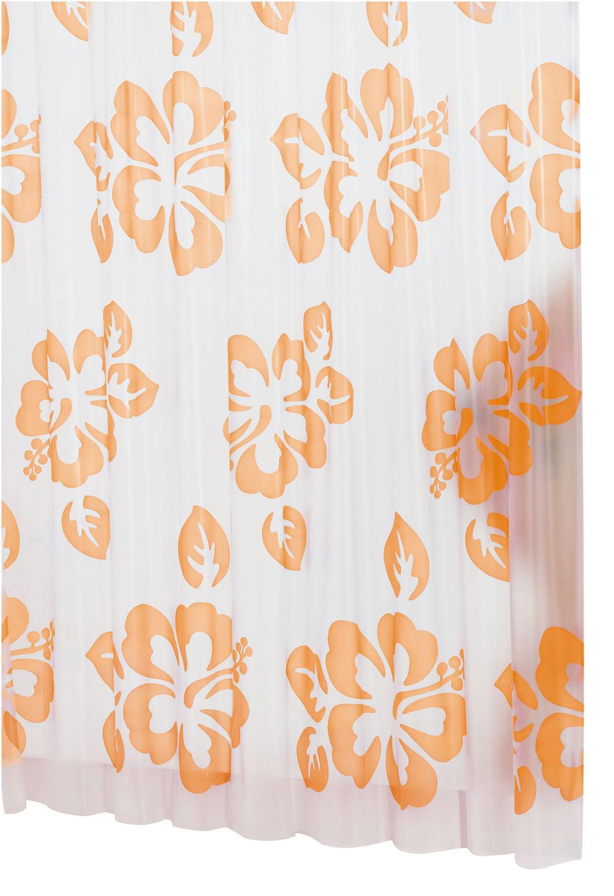 Штора для ванной комнаты Ridder Flowerpower, цвет: оранжевый, 180 х 200 смRG-D31SВысококачественная немецкая штора для душа создает прекрасное настроение.Продукты из эколена не имеют запаха и считаются экологически чистыми.Ручная стирка. Не гладить.