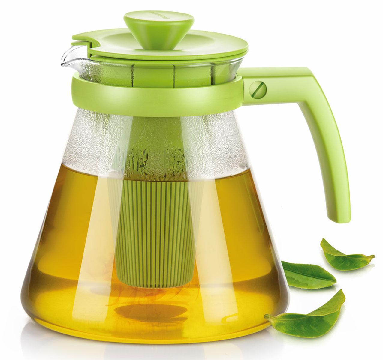 Чайник заварочный Tescoma Teo Tone, с ситечком, цвет: салатовый, прозрачный, 1,7 лVT-1520(SR)Чайник заварочный Tescoma Teo Tone предназначен для подготовки и сервировки всех видов чая и чайных напитков. Чайник снабжен глубоким ситечком для заваривания свежей мяты, мелиссы, имбиря, сушеного шиповника, фруктов, а также очень густым ситечком для заваривания всех видов рассыпного чая. Корпус чайника изготовлен из термостойкого боросиликатного стекла, поэтому его можно ставить на плиту. Ручка, крышка и ситечко изготовлены из прочного пластика. Чайник подходит для газовых, электрических и стеклокерамических плит, микроволновой печи. Не рекомендуется мыть в посудомоечной машине. Инструкция по использованию внутри упаковки. Диаметр (по верхнему краю): 10 см. Диаметр основания: 16 см. Высота: 18 см.
