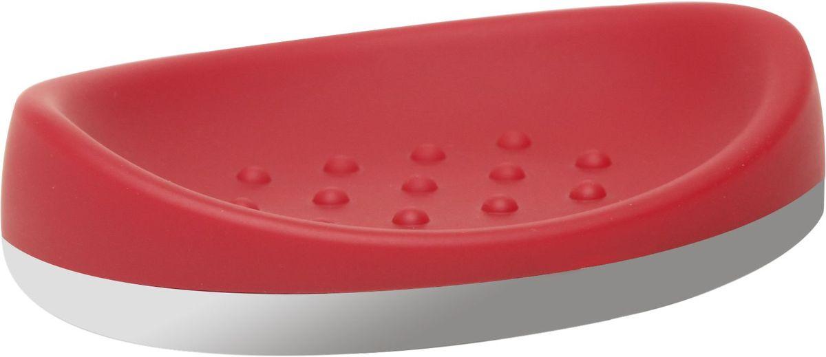 Мыльница Proffi Home, цвет: красный, хром, 14 х 9,8 х 3,5 см531-105Мыльница Proffi Home - это стильный аксессуар для хранения мыла. Мыльница выполнена из пластика с каучуковым покрытием и дополнена хромированными элементами. Каучуковое покрытие обеспечивает антискользящий эффект, а пластик отличается легкостью, прочностью и долговечностью. Рифленое дно предотвращает размокание и соскальзывание мыла. Благодаря лаконичной форме и хромированным деталям такой аксессуар отлично впишется в любой интерьер ванной комнаты.
