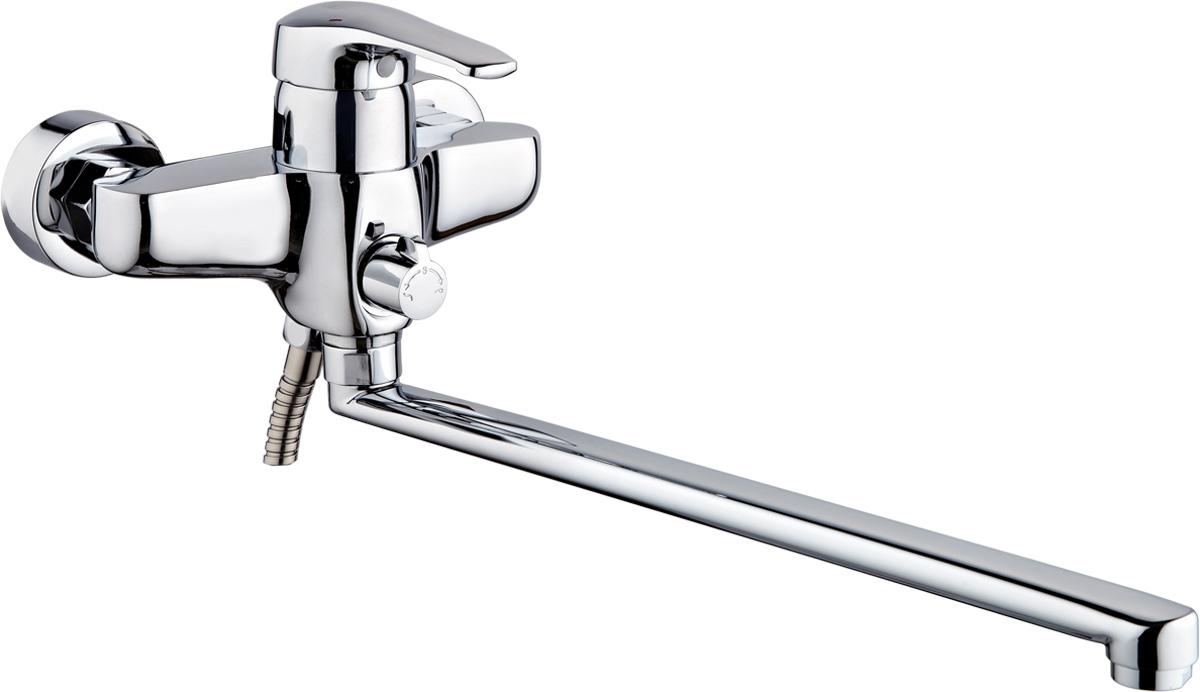 Смеситель для ванны и душа РМС, с длинным поворотным изливом, цвет: хром. SL50-006E34145Смеситель для ванны РМС с длинным поворотным изливом предназначен для смешивания холодной и горячей воды, устанавливается на мойку. Выполнен из высококачественной латуни марки MS63 (63% медь, 36% цинк, свинец, железо, сурьма, висмут, 1% фосфор). Такая латунь обладает повышенной прочностью, коррозионной стойкостью, твердостью и устойчивостью к щелочам и разбавленным кислотам. Смеситель оснащен керамическим картриджем. Смеситель находится в закрытом состоянии, если ручка опущена до отказа. Поднятием ручки регулируется напор воды, а поворотом ручки достигается регулирование степени температуры воды: влево - горячей, вправо - холодной. Преимущество одноручкового смесителя заключается в том, что установленная вами температура воды сохраняется, если ручка при закрытии и следующем открытии не поменяла свое положение. Благодаря большой твердости и износоустойчивости керамических пластинок одноручковые смесители дольше служат, чем традиционные. Аэратор выполнен из пластика. Европереключение на душ. В комплекте: эксцентрики, отражатели, металлический шланг для душа длиной 1,5 м, пластиковая лейка для душа, крепление для лейки. Размер присоединения к угловому вентилю для умывальника: гайка 1/2.Кран-букса керамическая: 1/2. Картридж: керамический. Размер картриджа: 40 мм.