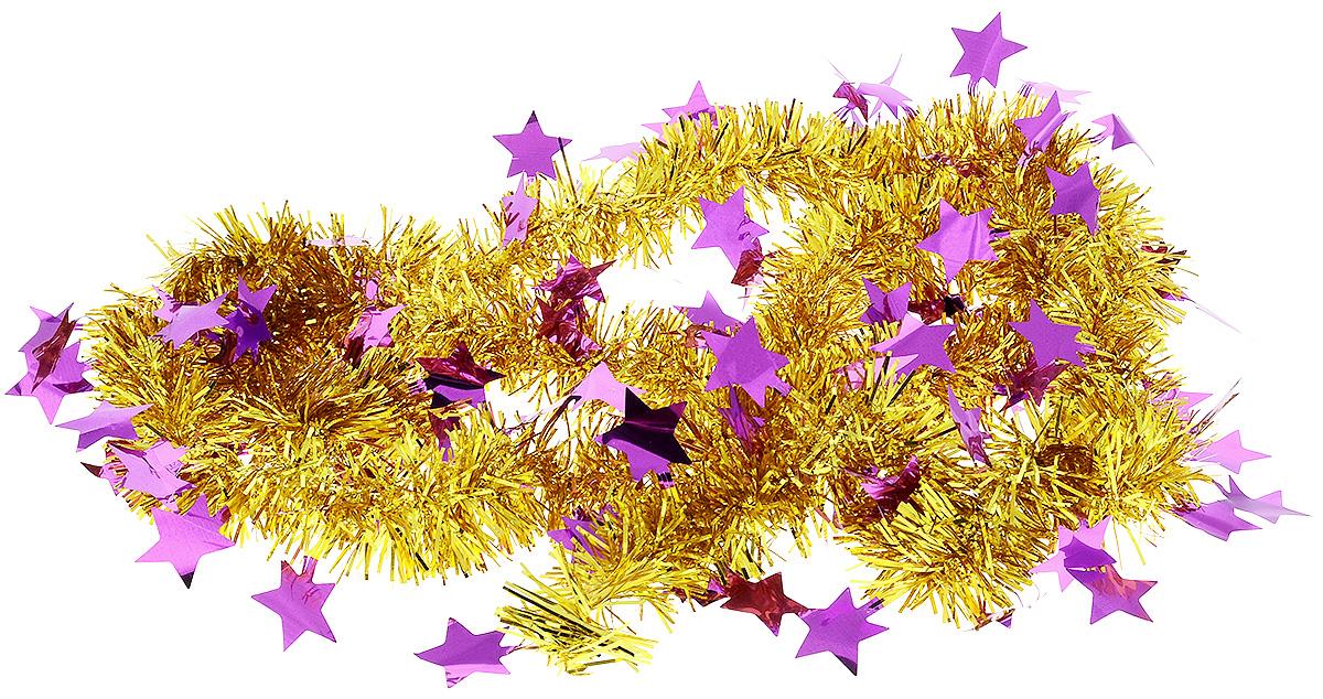 Мишура новогодняя B&H Звездочки, цвет: золотой, фиолетовый, 2 м00-00007687Мишура новогодняя B&H Звездочки, выполненная из ПВХ, поможет вам украсить свой дом к предстоящим праздникам. Новогодняя елка с таким украшением станет еще наряднее. Новогодней мишурой можно украсить все, что угодно - елку, квартиру, дачу, офис - как внутри, так и снаружи. Можно сложить новогодние поздравления, буквы и цифры, мишурой можно украсить и дополнить гирлянды, можно выделить дверные колонны, оплести дверные проемы.
