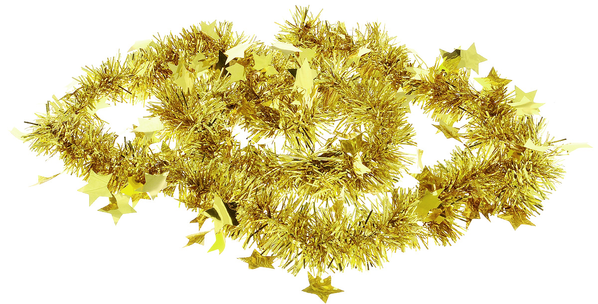 Мишура новогодняя B&H Звездочки, цвет: золотой, 2 мC0038550Мишура новогодняя B&H Звездочки, выполненная из ПВХ, поможет вам украсить свой дом к предстоящим праздникам. Новогодняя елка с таким украшением станет еще наряднее. Новогодней мишурой можно украсить все, что угодно - елку, квартиру, дачу, офис - как внутри, так и снаружи. Можно сложить новогодние поздравления, буквы и цифры, мишурой можно украсить и дополнить гирлянды, можно выделить дверные колонны, оплести дверные проемы.