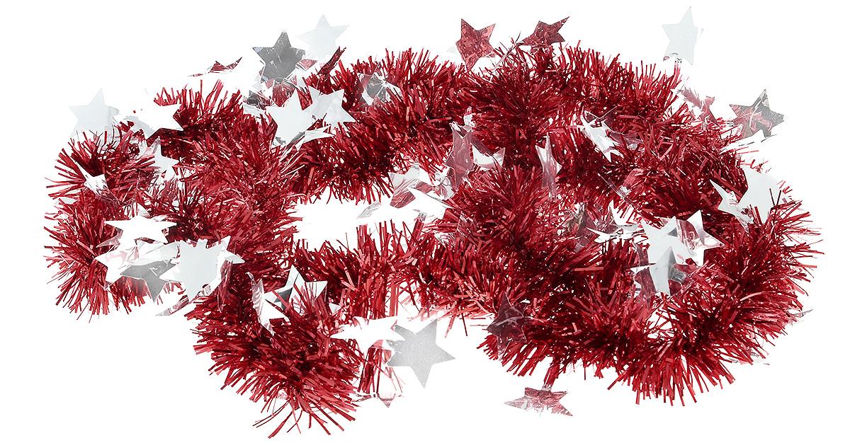 Мишура новогодняя B&H Звездочки, цвет: красный, серебристый, 2 мRSP-202SМишура новогодняя B&H Звездочки, выполненная из ПВХ, поможет вам украсить свой дом к предстоящим праздникам. Новогодняя елка с таким украшением станет еще наряднее. Новогодней мишурой можно украсить все, что угодно - елку, квартиру, дачу, офис - как внутри, так и снаружи. Можно сложить новогодние поздравления, буквы и цифры, мишурой можно украсить и дополнить гирлянды, можно выделить дверные колонны, оплести дверные проемы.