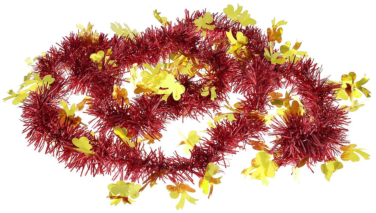 Мишура новогодняя B&H Бантики, цвет: красный, золотистый, 2 мSL250 503 09Мишура новогодняя B&H Бантики, выполненная из ПВХ, поможет вам украсить свой дом к предстоящим праздникам. Новогодняя елка с таким украшением станет еще наряднее. Новогодней мишурой можно украсить все, что угодно - елку, квартиру, дачу, офис - как внутри, так и снаружи. Можно сложить новогодние поздравления, буквы и цифры, мишурой можно украсить и дополнить гирлянды, можно выделить дверные колонны, оплести дверные проемы.