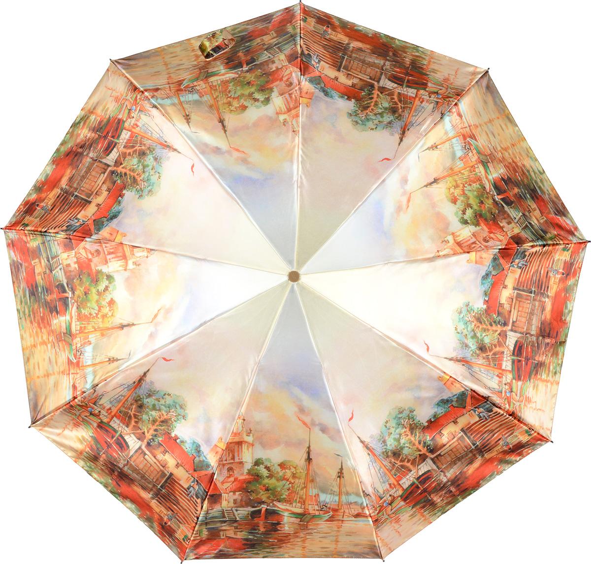 Зонт женский Zest, цвет: светло-бежевый, красный, зеленый. 23944-3054Пуссеты (гвоздики)Женский зонт Zest в 3 сложения изготовлен из сатина. Модель зонта выполнена в механизме - полный автомат, оснащена системой Антиветер, которая позволяет спицам при порывах ветра выгибаться наизнанку и при этом не ломаться. В закрытом виде застегивается хлястиком на липучке. Удобная ручка выполнена из пластика. Модель оформлена оригинальным принтом.