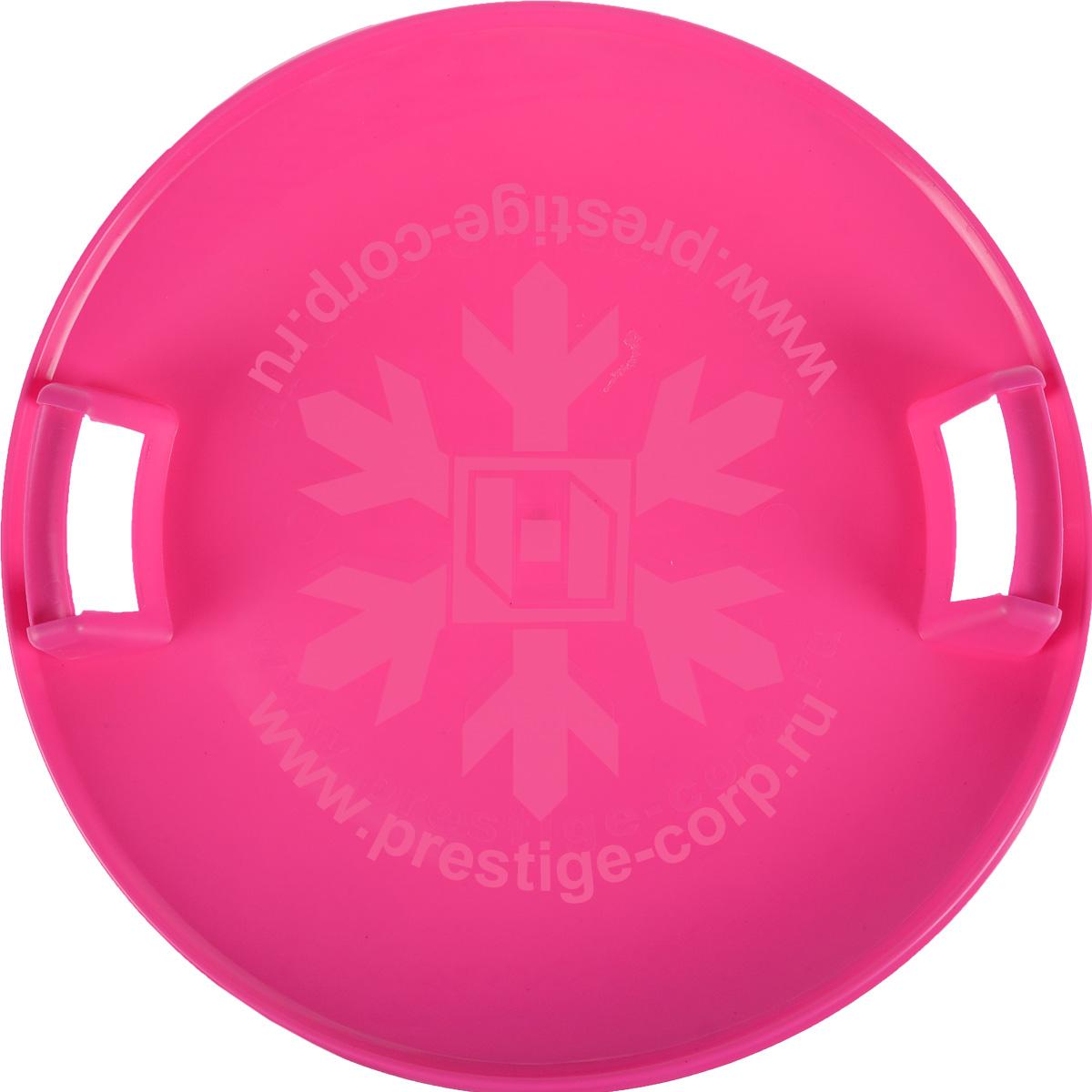 Санки-ледянки Престиж Экстрим, с пластиковыми ручками, увет: розовый, диаметр 58 см296Любимая детская зимняя забава - это катание с горки. Яркие санки-ледянки Престиж Экстрим станут незаменимым атрибутом этой веселой детской игры. Санки-ледянки Престиж Экстрим - это специальная пластиковая тарелка, облегчающая скольжение и увеличивающая скорость движения по горке. Круглая ледянка выполнена из прочного морозоустойчивого пластика и снабжена двумя удобными ручками, чтобы катание вашего ребенка было безопасным. Отличная скорость, прочный материал и спуск, который можно закончить сидя спиной к низу горки - вот что может предоставить это изделие! Благодаря малому весу, ледянку, в отличие от обычных санок, легко нести с собой даже ребенку.