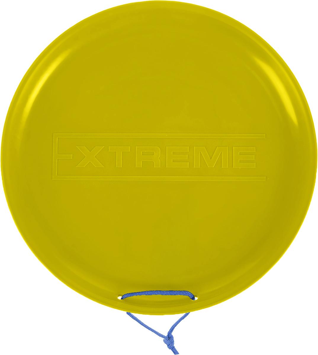 Санки-ледянки Престиж Экстрим, цвет: желтый, диаметр 40 см337713Любимая детская зимняя забава - это катание с горки. Яркие санки-ледянки Престиж Экстрим станут незаменимым атрибутом этой веселой детской игры. Санки-ледянки - это специальная пластиковая тарелка, облегчающая скольжение и увеличивающая скорость движения по горке. Ледянка выполнена из прочного гибкого пластика и снабжена текстильной ручкой для транспортировки. Конфигурация санок позволяет удобно сидеть и развивать лучшую скорость. Благодаря малому весу ледянку, в отличие от обычных санок, легко нести с собой даже ребенку.