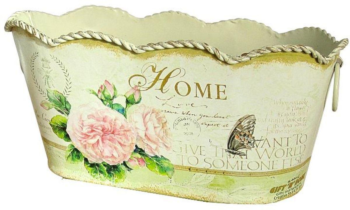 Корзинка декоративная GiftnHome Уютный дом, 21,5 х 12 х 10,5 см531-401Жестяные изделия в стиле Прованс - это мода, не имеющая времени. Прекрасно исполненных итальянской фабрикой GiftnHome, интерьерные изделия выполнены техникой Дэ-купаж, (изделия из жести, покрыты специальными бумажными обоями с декором). Они внесут в ваш дом атмосферу благородной старины, европейского стиля, уюта деревенского домика в Провансе. Данные изделия носят декоративный характер и не пригодны для использования в саду, активного контакта с водой и грязью. Для устранения загрязнений - можно протереть изделия влажной тряпкой или губкой (без нажима). Спустя несколько минут следов влаги не останется.