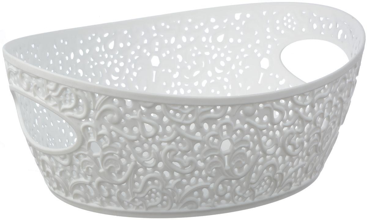 Корзинка Idea Кружево, цвет: белый, 2,5 лБрелок для ключейУниверсальная корзинка Idea изготовлена из высококачественного пластика с перфорированными стенками и сплошным дном. Такая корзинка непременно пригодится в быту, в ней можно хранить кухонные принадлежности, специи, аксессуары для ванной и другие бытовые предметы, диски и канцелярию.Размер корзинки: 19,5 х 26 х 10 см. Объем корзинки: 2,5 л.