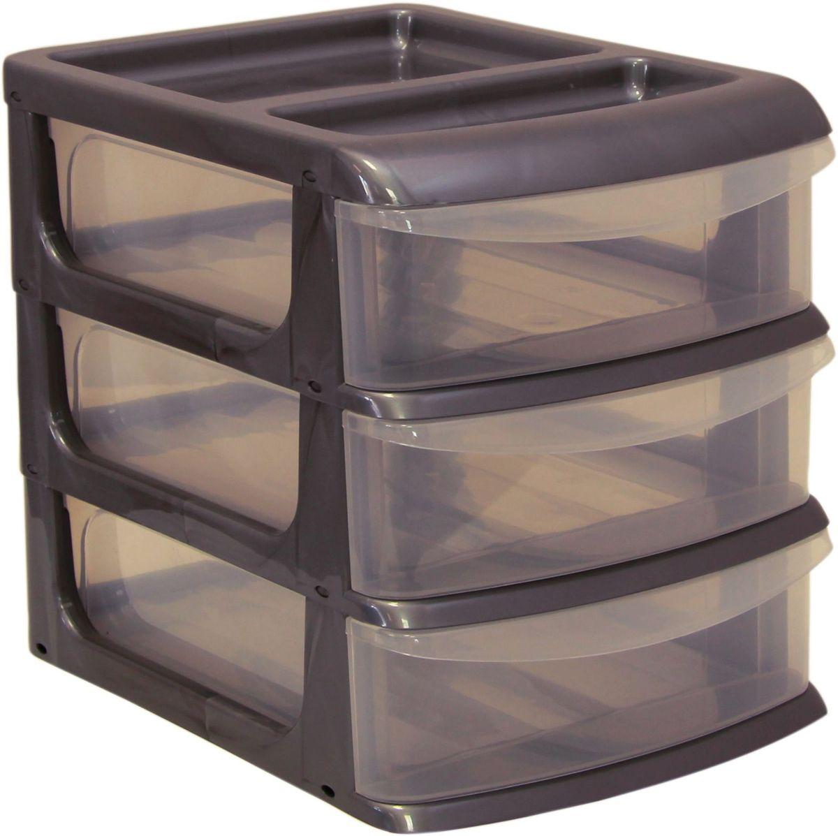 Бокс универсальный Idea, цвет: металлик, 25 х 34 х 28 см, 3 секцииS03301004Универсальный бокс Idea выполнен из высококачественного пластика и имеет три удобные выдвижные секции. Бокс предназначен для хранения предметов шитья, рукоделия, хобби и всех необходимых мелочей. Изделие позволит компактно хранить вещи, поддерживая порядок и уют в вашем доме.Размер секции: 25 х 32 х 7 см.