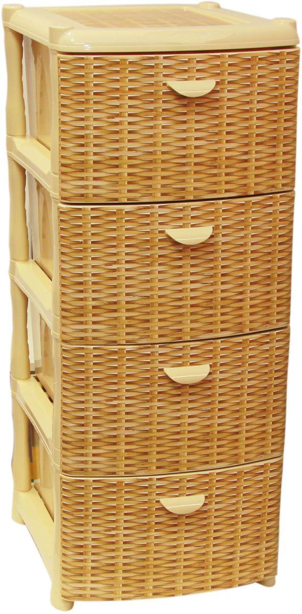 Комод Idea Альт Деко, цвет: ротанг, 40,5 х 50,5 х 46 см, 4 секцииTHN132NКомод Idea Альт Деко изготовлен из высококачественного пластика. Ящики оформлены изображением плетеных элементов. Комод предназначен для хранения различных вещей и состоит из 4 вместительных выдвижных секций. Такой необычный и яркий комод надежно защитит вещи от загрязнений, пыли и моли, а также позволит вам хранить их компактно и с удобством.Размер комода: 40,5 х 50,5 х 46 см.
