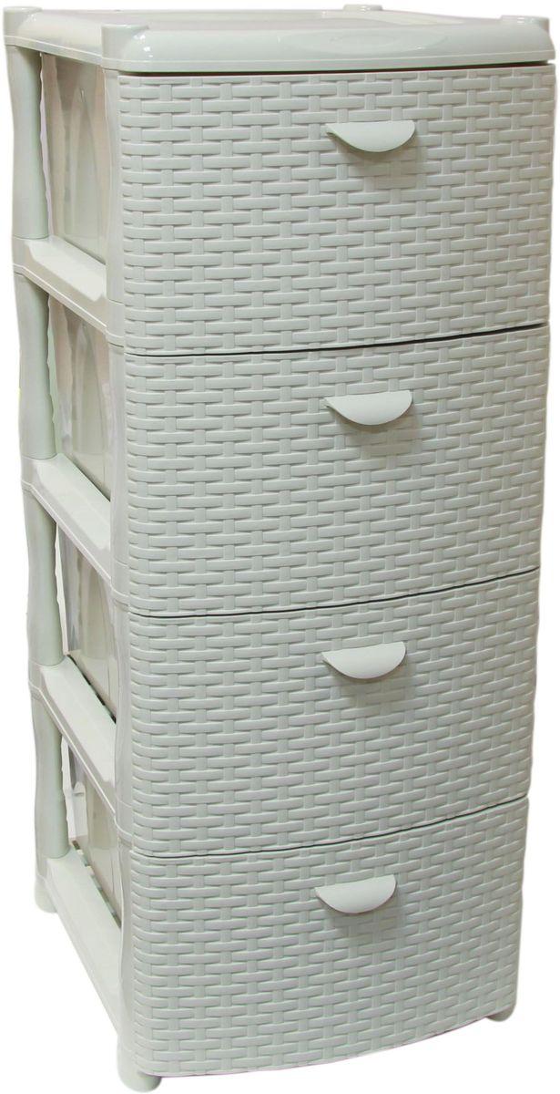 Комод Idea Ротанг, цвет: белый ротанг, 50,5 х 40,5 х 96 см, 4 секцииМ 2812Комод Idea Ротанг изготовлен из высококачественного пластика. Ящики оформлены изображением плетеных элементов. Комод предназначен для хранения различных вещей и состоит из 4 вместительных выдвижных секций. Такой необычный и яркий комод надежно защитит вещи от загрязнений, пыли и моли, а также позволит вам хранить их компактно и с удобством.Размер комода: 50,5 х 40,5 х 96 см.