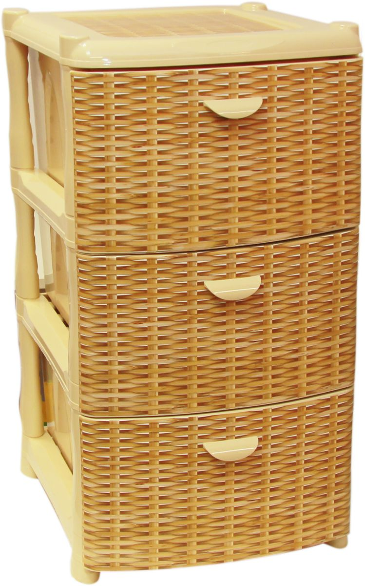 Комод Idea Альт Деко, цвет: ротанг, 48,5 х 39 х 40,5 см, 3 секции0357/6Комод Idea Альт Деко изготовлен из высококачественного пластика. Ящики оформлены изображением плетеных элементов. Комод предназначен для хранения различных вещей и состоит из 3 вместительных выдвижных секций. Такой необычный и яркий комод надежно защитит вещи от загрязнений, пыли и моли, а также позволит вам хранить их компактно и с удобством.Размер комода: 48,5 х 39 х 40,5 см.