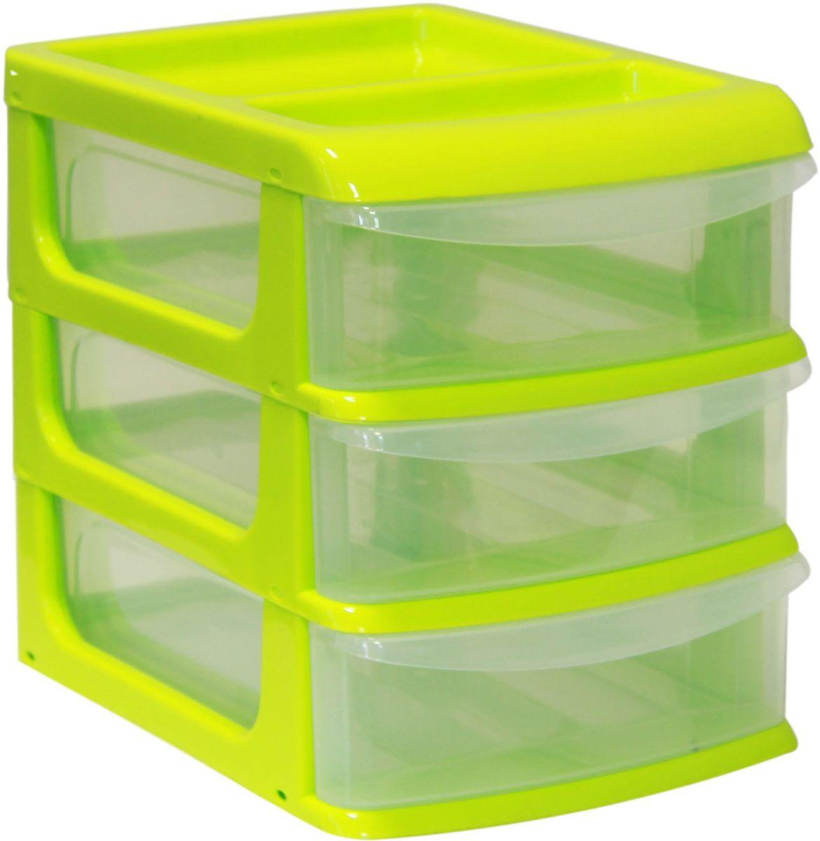 Бокс универсальный Idea, цвет: салатовый, прозрачный, 25 х 34 х 28 см, 3 секцииБрелок для ключейУниверсальный бокс Idea выполнен из высококачественного пластика и имеет три удобные выдвижные секции. Бокс предназначен для хранения предметов шитья, рукоделия, хобби и всех необходимых мелочей. Изделие позволит компактно хранить вещи, поддерживая порядок и уют в вашем доме.Размер секции: 25 х 32 х 7 см.