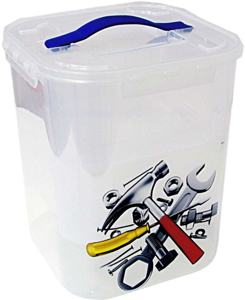 Контейнер для хранения Idea Деко. Инструменты, с 2 вкладышами, 10 лБрелок для ключейКонтейнер Idea Деко. Инструменты выполнен из высококачественного пластика, предназначен для хранения различных вещей и мелких аксессуаров.Контейнер снабжен плотно закрывающейся крышкой с четырьмя фиксаторами. Изделие оформлено ярким рисунком и оснащено резиновой ручкой на крышке для удобной переноски.Контейнер имеет одно большое отделение. Внутри контейнера - два съемных вкладыша, оснащенных ручками для переноски. Вы можете хранить вещи и аксессуары как во вкладышах, так и в самом контейнере. Размер контейнера (без учета крышки): 23 см х 23 см х 26 см.Объем контейнера: 10 л.