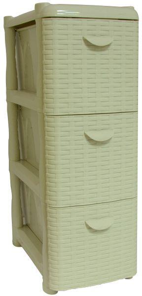 Комод Idea Ротанг, цвет: белый ротанг, 26,2 х 50,2 х 48 см, 3 секции. М 2813300148_розовыйКомод Idea Ротанг изготовлен из высококачественного пластика. Ящики оформлены изображением плетеных элементов. Комод предназначен для хранения различных вещей и состоит из 3 вместительных выдвижных секций. Такой необычный и яркий комод надежно защитит вещи от загрязнений, пыли и моли, а также позволит вам хранить их компактно и с удобством.Размер комода: 26,2 х 50,2 х 48 см.