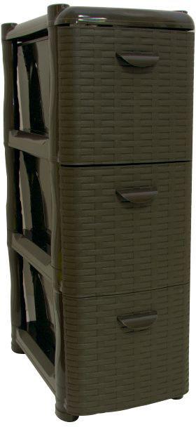 Комод Idea Ротанг, цвет: коричневый ротанг, 3 секции, 26,2 х 50,2 х 48 смМ 2812Комод Idea Ротанг изготовлен из высококачественного пластика. Ящики оформлены изображением плетеных элементов. Комод предназначен для хранения различных вещей и состоит из 3 вместительных выдвижных секций. Такой необычный и яркий комод надежно защитит вещи от загрязнений, пыли и моли, а также позволит вам хранить их компактно и с удобством.Размер комода: 26,2 х 50,2 х 48 см.