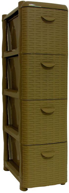 Комод Idea Ротанг, цвет: бежевый ротанг, 26,2 х 50,2 х 48 см, 4 секцииМ 2813Комод Idea Ротанг изготовлен из высококачественного пластика. Ящики оформлены изображением плетеных элементов. Комод предназначен для хранения различных вещей и состоит из 4 вместительных выдвижных секций. Такой необычный и яркий комод надежно защитит вещи от загрязнений, пыли и моли, а также позволит вам хранить их компактно и с удобством.Размер комода: 26,2 х 50,2 х 48 см.