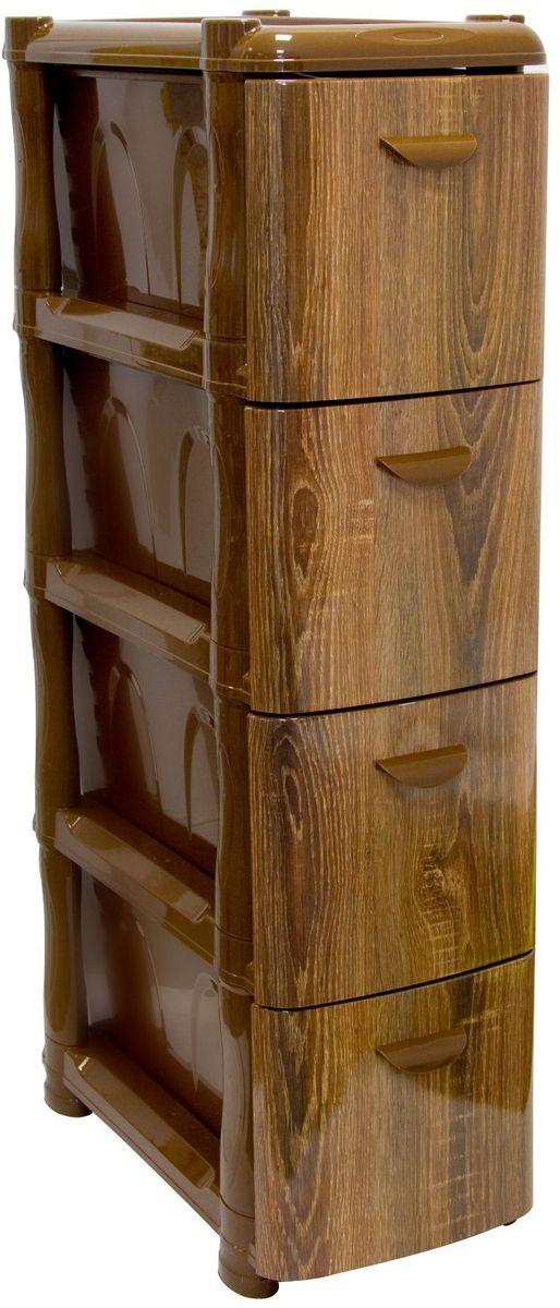 Комод Idea Альт Деко. Дерево, 26,2 х 46 х 96,8 см, 4 секции. М 28080354Комод Idea Альт Деко изготовлен из высококачественного пластика. Ящики стилизованы под дерево. Комод предназначен для хранения различных вещей и состоит из 3 вместительных выдвижных секций. Такой необычный комод надежно защитит вещи от загрязнений, пыли и моли, а также позволит вам хранить их компактно и с удобством.Размер комода: 26,2 х 46 х 96,8 см.