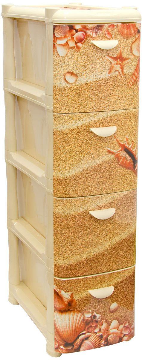 Комод Idea Альт Деко. Пляж, 26,2 х 50,2 х 46 см, 4 секцииМ 2808Комод Idea Альт Деко. Пляж изготовлен из высококачественного пластика. Комод предназначен для хранения различных вещей и состоит из 4 вместительных выдвижных секций. Такой необычный и яркий комод надежно защитит вещи от загрязнений, пыли и моли, а также позволит вам хранить их компактно и с удобством.Размер комода: 26,2 х 50,2 х 46 см.