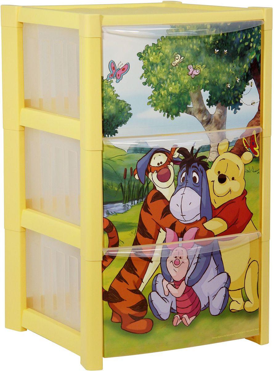 Комод Disney, цвет: банановый, 3 секции. М 2791-Д54 009312Комод Disney - вместительный, современный и удобный комод с любимыми героями, который идеально подойдет для детской комнаты. Сглаженные углы и облегченная конструкция комода безопасны даже для самых активных детей. Яркие и сочные цвета идеально впишутся в интерьер детской комнаты.