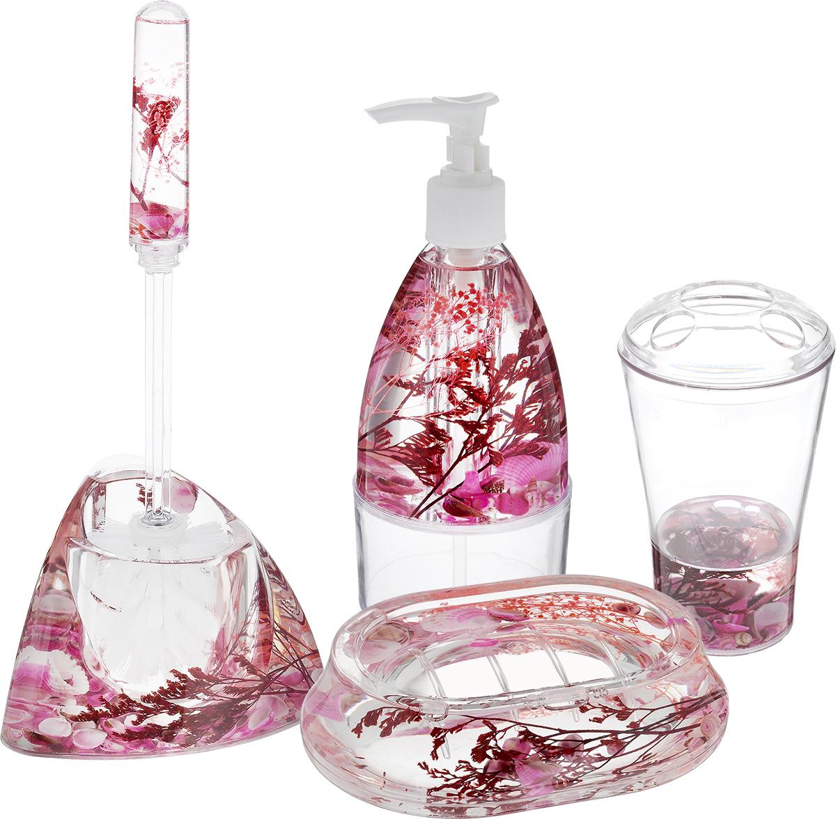 Набор для ванной комнаты Mayer & Boch Ракушка, цвет белый, розовый, 5 предметов8647_белый/розовыйНабор для ванной комнаты Mayer & Boch Ракушка состоит из диспенсера для жидкого мыла, стакана для 4 зубных щеток и зубной пасты, мыльницы и ершика на подставке. Предметы набора выполнены из высококачественного прозрачного пластика. Внутри гелевый наполнитель с морскимиракушками и кораллами.Аксессуары, входящие в набор Mayer & Boch Ракушка, выполняют не только практическую, но и декоративную функцию. Они способны внести в помещение изысканность, сделать пребывание в ванне приятным и даже незабываемым. Диаметр стакана (по верхнему краю): 8 см. Высота стакана (без учета крышки): 12 см. Размер диспенсера: 7,5 х 7,5 х 18,5 см. Объем диспенсера: 200 мл. Размер мыльницы: 13 х 9,5 х 3 см.Длина ершика: 32,5 см. Размер рабочей поверхности ершика: 6,5 х 6,5 х 8 см. Размер подставки для ершика: 17 х 12,3 х 10,5 см.