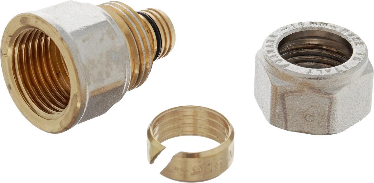 Соединитель Fornara, цанга - внутренняя резьба, 16 x 1/230627Соединитель Fornara предназначен для соединения металлопластиковых труб с помощью разводного ключа. Соединение получается разъемным, что позволяет при необходимости заменять уплотнительные кольца, а также производить обслуживание участка трубопровода.