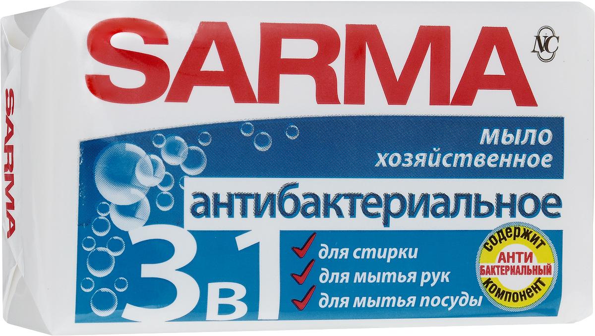 Мыло хозяйственное Сарма, антибактериальное, 140 г106-026Мыло хозяйственное Сарма подходит для стирки всех типов тканей, обильно пенится даже в жесткой воде. Имеет доказанный антибактериальный эффект, обладает приятным ароматом свежести. Создано на натуральной основе, не содержит запрещенных ингредиентов и безопасно для применения. Товар сертифицирован.