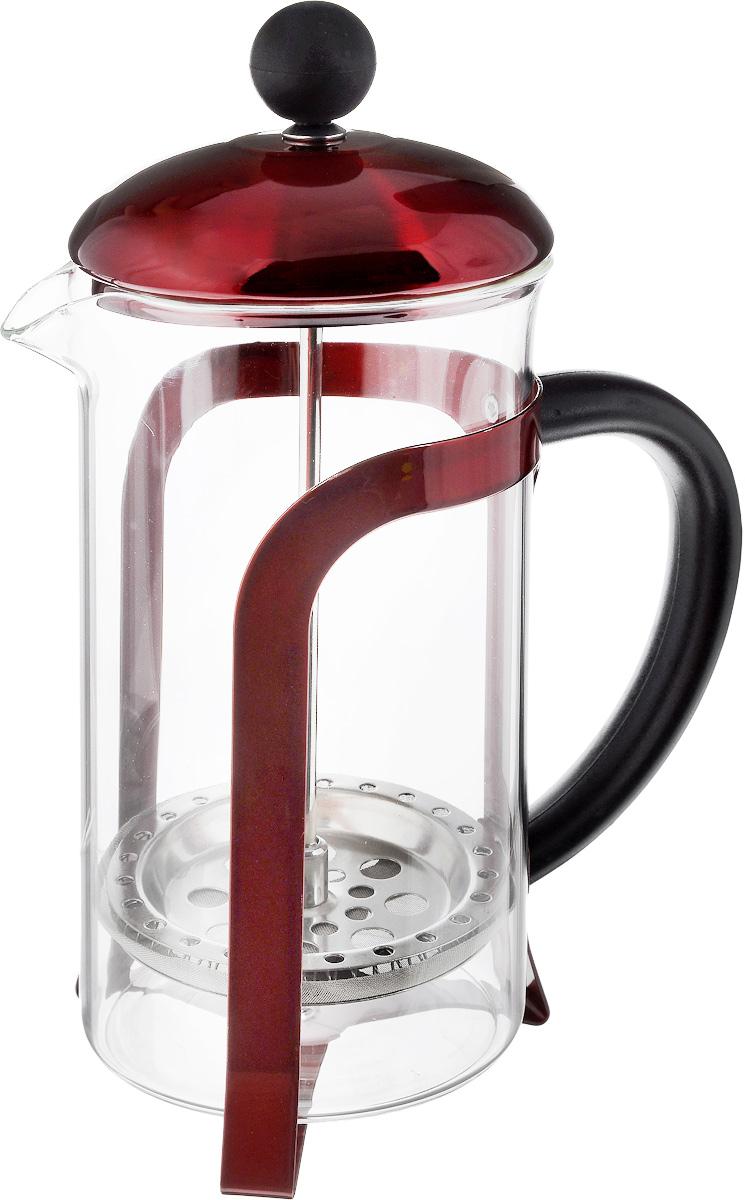 Френч-пресс Guterwahl, цвет: прозрачный, красный, 600 мл115510Френч-пресс Guterwahl изготовлен из экологически чистых материалов: жаропрочного стекла и металла. Корпус оформлен декоративной перфорацией. Френч-пресс оснащен удобной ручкой. Фильтр-поршень из нержавеющей стали обеспечивает равномерную циркуляцию воды и насыщенность напитка. С его помощью также можно регулировать степень крепости чая. Сбоку стеклянной колбы имеется носик для удобного слива жидкости.Френч-пресс Guterwahl позволит быстро приготовить свежий и ароматный кофе или чай. Не рекомендуется мыть в посудомоечной машине.Диаметр френч-пресса: 8,5 см.Высота френч-пресса (с учетом крышки): 22 см.Объем френч-пресса: 600 мл.