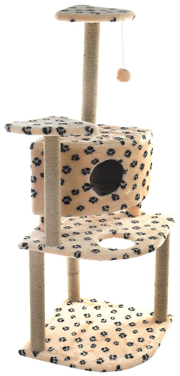 Игровой комплекс для кошек Меридиан, с домиком и когтеточкой, цвет: бежевый, черный, 55 х 55 х 140 смД441 Ла_бежевый, черные лапыИгровой комплекс для кошек Меридиан выполнен из высококачественного ДВП и ДСП и обтянут искусственным мехом. Изделие предназначено для кошек. Комплекс имеет 3 яруса. Ваш домашний питомец будет с удовольствием точить когти о специальные столбики, изготовленные из джута. А отдохнуть он сможет либо на полках, либо в домике. На одной из полок расположена игрушка, которая еще сильнее привлечет внимание питомца.Общий размер: 55 х 55 х 140 см.Размер домика: 42 х 42 х 31 см.Размер полок: 26 х 26 см.Размер нижнего яруса: 55 х 55 см.