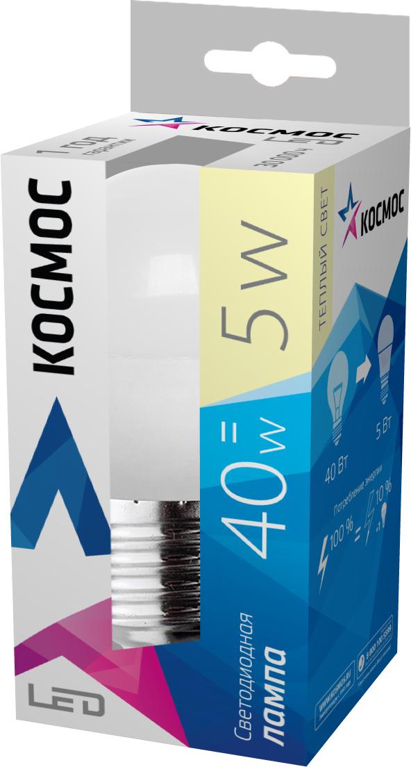 Светодиодная лампа Kosmos, теплый свет, цоколь E27, 5W, 220VC0038553Светодиодная лампа КОСМОС LED GL45 5Вт 220В E27 3000K (Lksm LED5wGL45E2730) с цоколем Е27 и матовым плафоном. Для стопроцентной яркости требуется 0,05 секунды. Номинальное напряжение для лампы – 220 Вольт. Обладает световым потоком в 350 Лм и полноценно заменяет лампу накаливания в 40W.