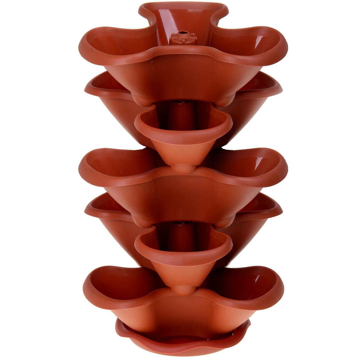 Этажерка цветочная Idea Гамма, цвет: терракотовый, 5 кашпоМ 3145Цветочная этажерка Idea Гамма изготовлена из высококачественного полипропилена и представляет собой 5 фигурных кашпо, которые устанавливаются друг на друга. Вся конструкция располагается на подставке.Такая красивая этажерка предназначена для выращивания растений и цветов в домашних условиях. Стильный яркий дизайн сделает ее отличным дополнением интерьера. Высота этажерки: 61 см.Размер одного кашпо: 38 х 35 х 14 см.