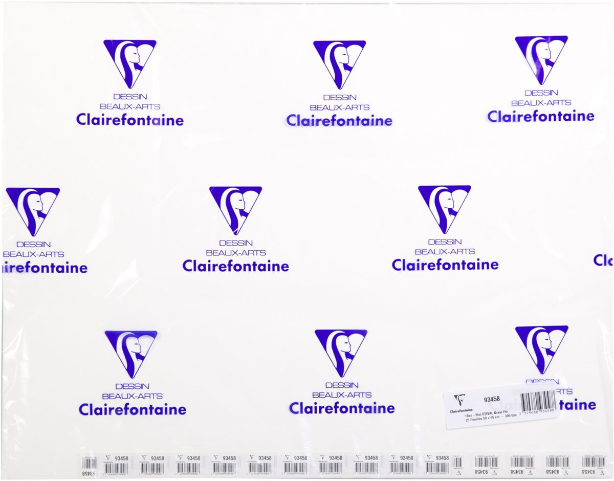 Бумага Clairefontaine Etival, холодный пресс, 50 х 65 см, 25 листов. 93458С93458СБумага ETIVAL (Торшон) холодный пресс (50х65, 300г, 25л) 93458С