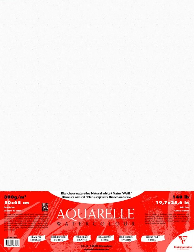 Бумага Clairefontaine Cardinal, для акварели холодного прессования, 5 листов97775318Упаковка бумаги CARDINAL для акварели холодного прессования 300г/м2 5л/упак 96097С