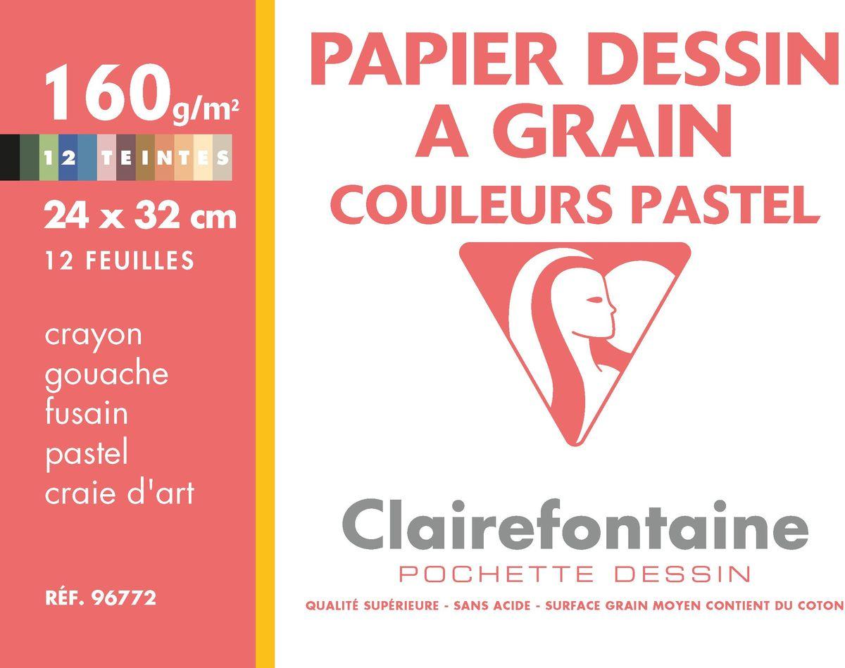 Набор цветной бумаги Clairefontaine Etival Color, 24 х 32 см, 12 листов96772СНабор цветной бумаги ETIVAL COLOR (24х32см, 160г, 12л) 96772С