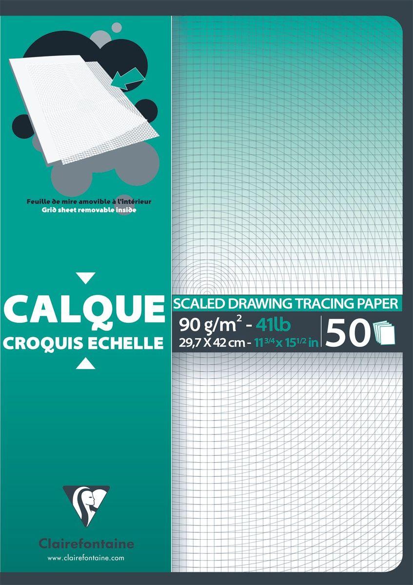 Калька Clairefontaine Calque, с сетка-листом, формат A3, 50 листовNLED-454-9W-BKНабор кальки CALQUE (Склейка) С сетка-листом (А3, 92г, 50л) 97132С