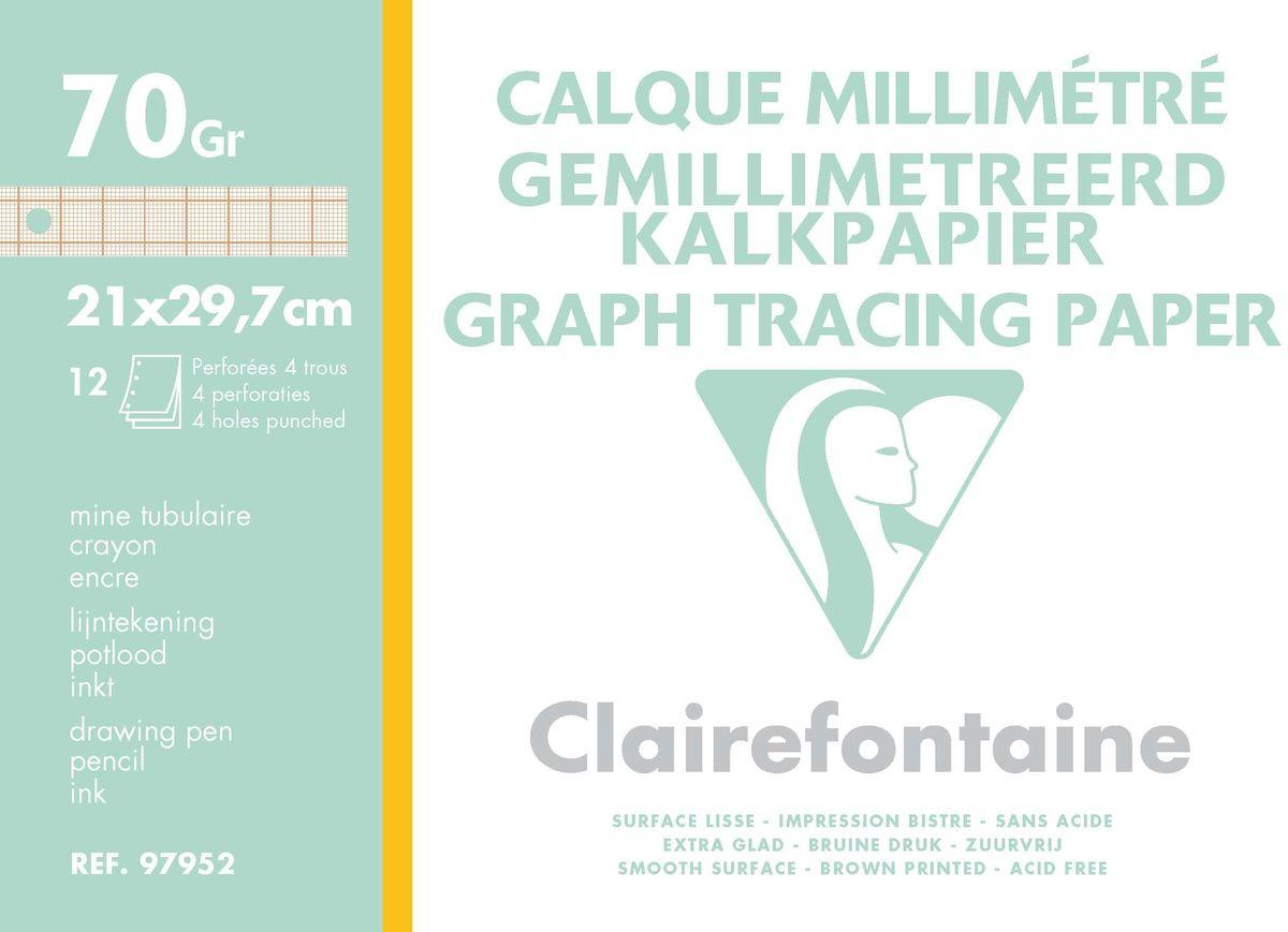 Калька Clairefontaine Calque, с миллиметровкой, формат A4, 12 листовRSP-202SНабор кальки CALQUE С миллиметровкой (А4, 70г, 12л) 97952С