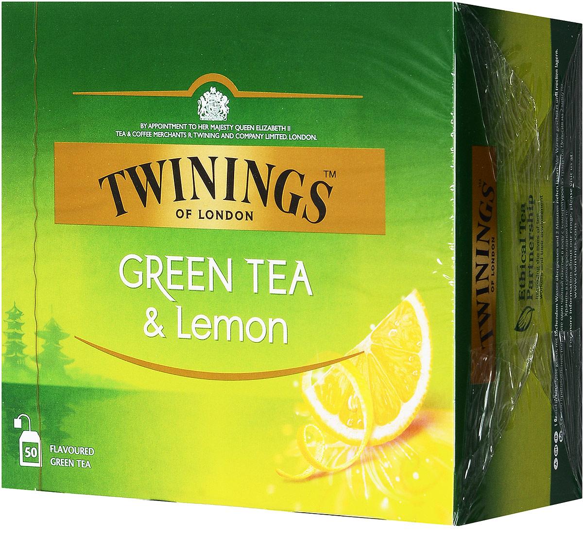 Twinings Green Tea & Lemon зелёный чай с цедрой лимона в пакетиках, 50 шт02288Twinings Green Tea & Lemon - уникальная смесь зеленого чая с добавлением лимонной цедры. Неповторимый вкус этого чая не оставит никого равнодушным.