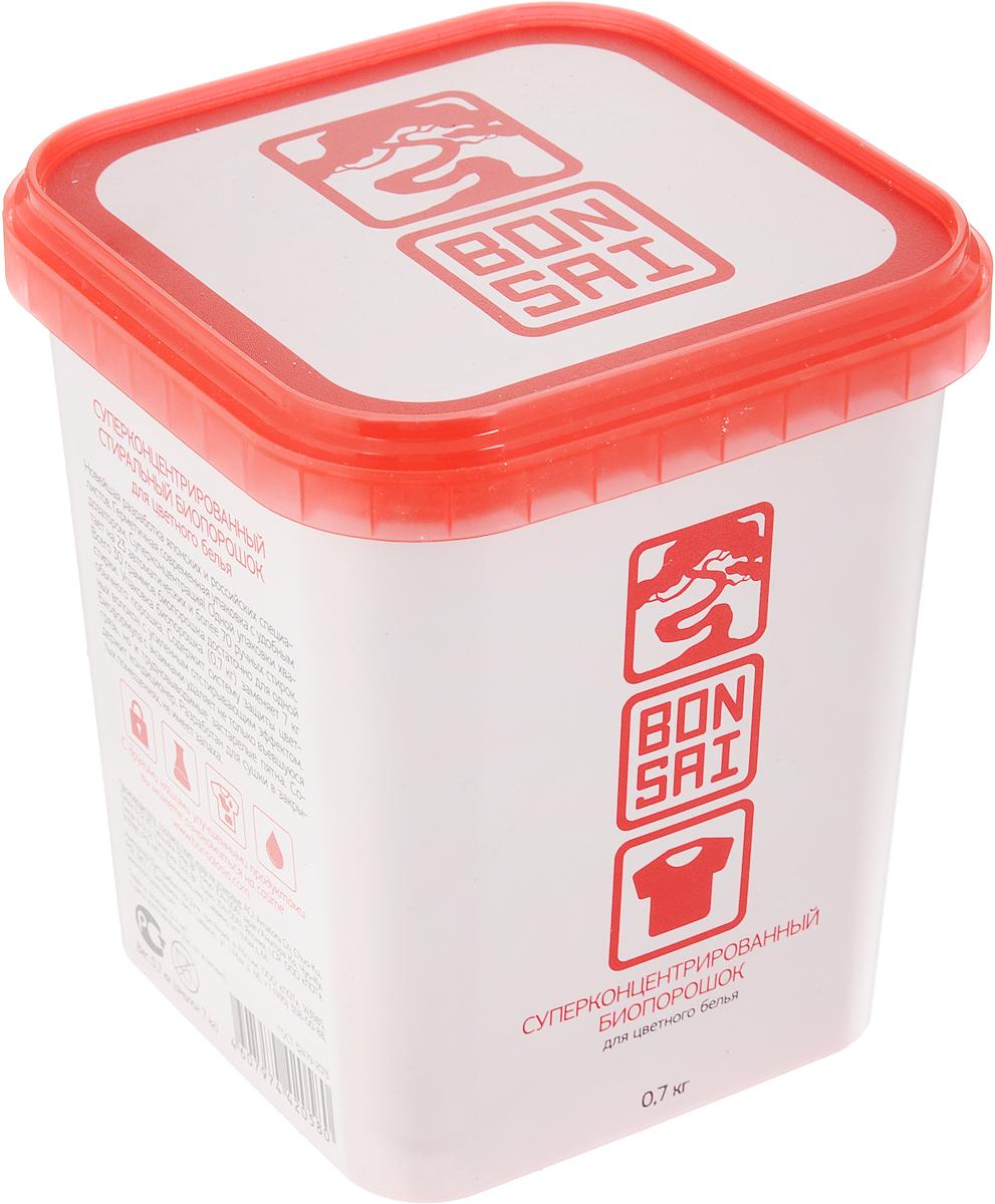 Стиральный порошок Bonsai, концентрированный, для цветного белья, 700 гCLP446Стиральный порошок Bonsai - новейшая разработанная технология японских и российских специалистов. Герметичная современная упаковка с удобным дозатором. Суперконцентрация. Одной упаковки хватает на 23 автоматических и более 70 ручных стирок, всего 30 граммов биопорошка достаточно для одной стирки. Упаковка биопорошка (0,7 кг) заменяет 7 кг обычного порошка. Содержит систему защиты цветных волокон с усиленным отстирывающим эффектом. Биоформула с энзимами удаляет не только въевшуюся грязь, но и трудновыводимые пятна. Содержит кондиционер. Разработан для сушки в закрытых помещениях, не имеет запаха.Товар сертифицирован.