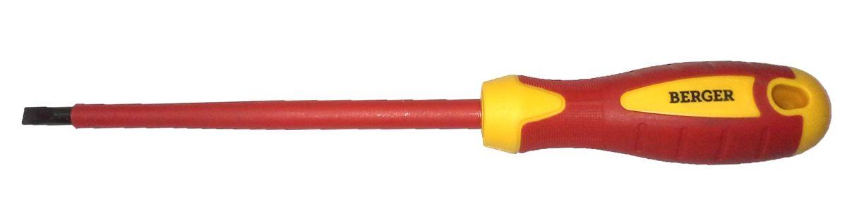 Отвертка шлицевая Berger, диэлектрическая, 1,2 x 6,5 x 150 мм. BG105480621Отвертка на пластиковом держателе. Изготовлена из прочной и качественной хром-ванадиевой стали (CR-V). Двухкомпонентная рукоятка не позволяет отвертке выскальзывать при работе из рук. Инструмент выполнен из токонепроводящих материалов, что позволяет использовать его для работ с высоким напряжением до 1000V. Соответствует IEC 60900.