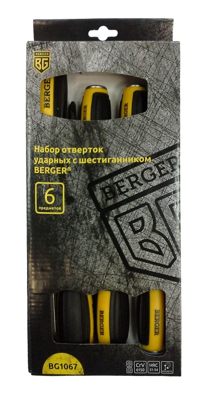 Набор отверток Berger, ударных, с шестигранником, 6 предметов. BG1067CA-3505Набор отверток Berger используется для ремонтно-монтажных работ. Каждый компонент оснащен рабочей частью из высококачественной стали и имеет удобную по форме ручку из антискользящего материала. Рукоятка и стержень надежно зафиксированы между собой для более продолжительного срока службы.В наборе:- 3 ударных шлицевых отвертки: SL5.5 x 100 мм; SL6.5 x 150 мм; SL8 x 200 мм;- 3 ударных крестовых отвертки: PH1 x 100 мм; PH2 x 125 мм; PH3 x 150 мм.