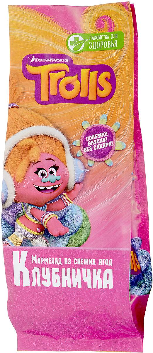 Лакомства для здоровья Trolls Клубничка мармелад, 105 г7157000615Мармелад Клубничка – это правильные сладости для всех детей! Ограничивать малышей в сладком очень трудно – детскому уму не понять, почему они должны есть невкусный суп, если есть такие вкусные конфеты. Однако с помощью мармелада от Конфаэль ограничивать их в сладком не придется. При этом вы можете быть уверены – эти сладости принесут только пользу растущему детскому организму, ведь мармелад не содержит сахара!