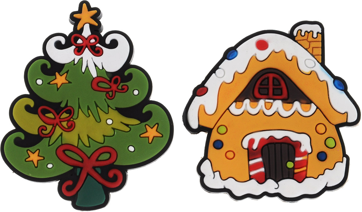 Магниты B&H Домик и елка, 2 штБрелок для ключейМагниты B&H Домик и елка прекрасно дополнят интерьер помещения в преддверии Нового года. Магниты выполнены из резины в виде красивых фигурок домика и новогодней елочки. Создайте в своем доме атмосферу веселья и радости, украшая его к Новому году. Откройте для себя удивительный мир сказок и грез. Почувствуйте волшебные минуты ожидания праздника, создайте новогоднее настроение вашим родным и близким. Средний размер магнитов: 5 х 5 см.